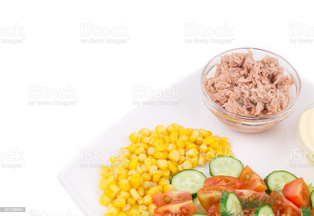 Close up of tuna salad. stock photo