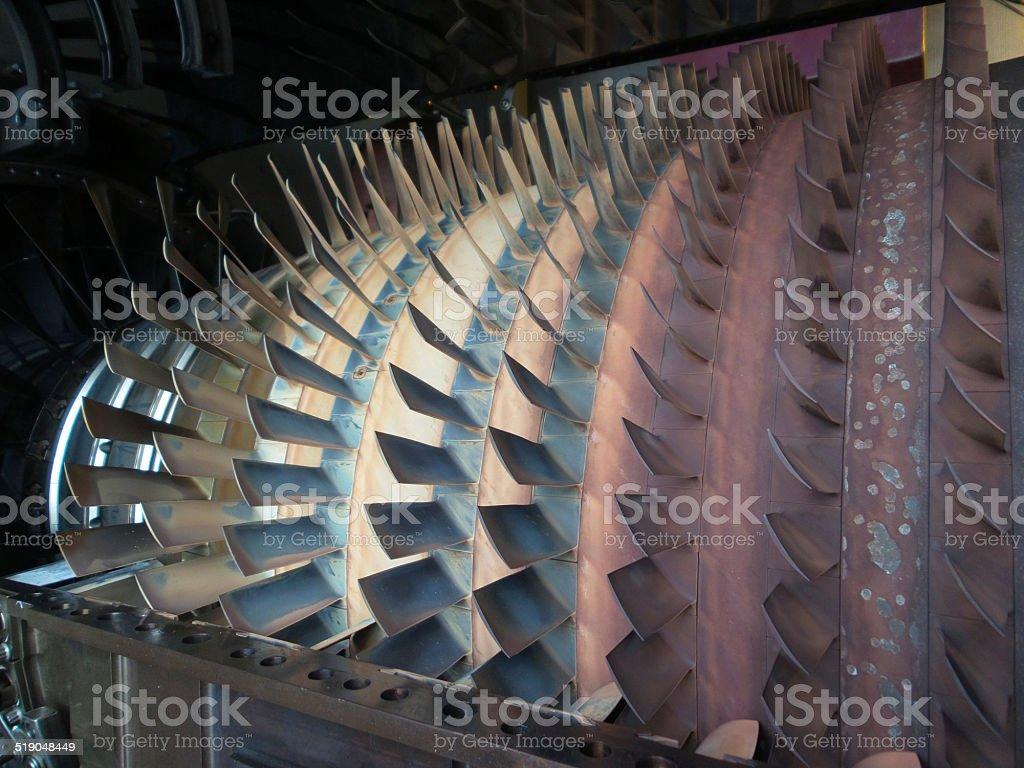 Close up of turbine blades stock photo