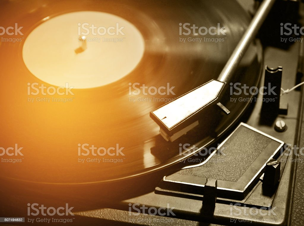 close up of turntable music player  process n vintage tone stock photo