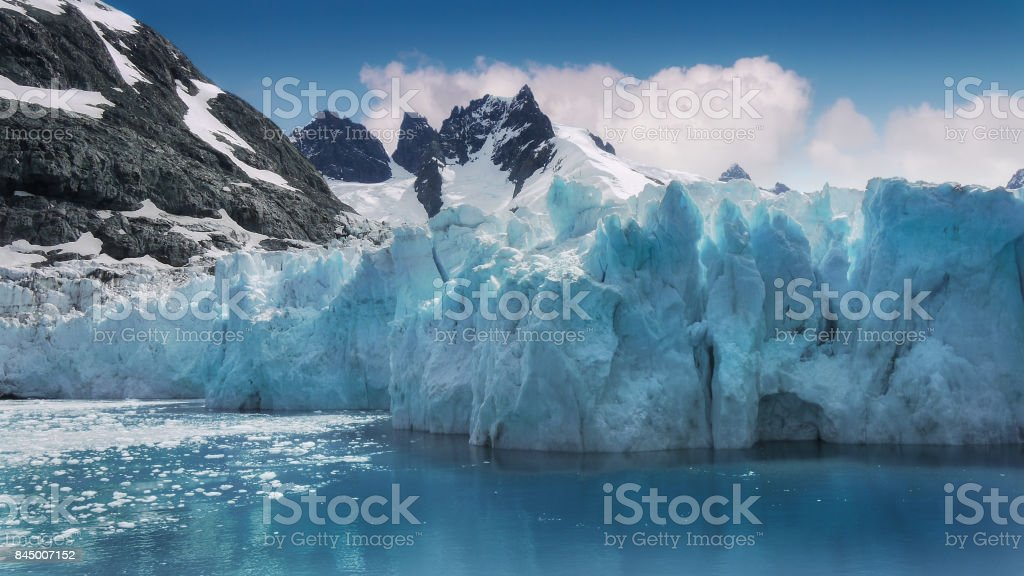 Close up of turquoise colored glacier ice in Drygalski Fjord, South Georgia Island. stock photo