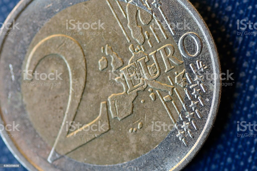 Close up Of Two Euro Coin stock photo