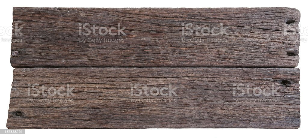 Close up of two old planks of dark-brown driftwood stock photo