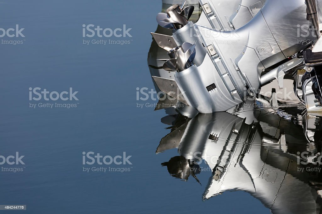 Close up of two outboard boat motors stock photo