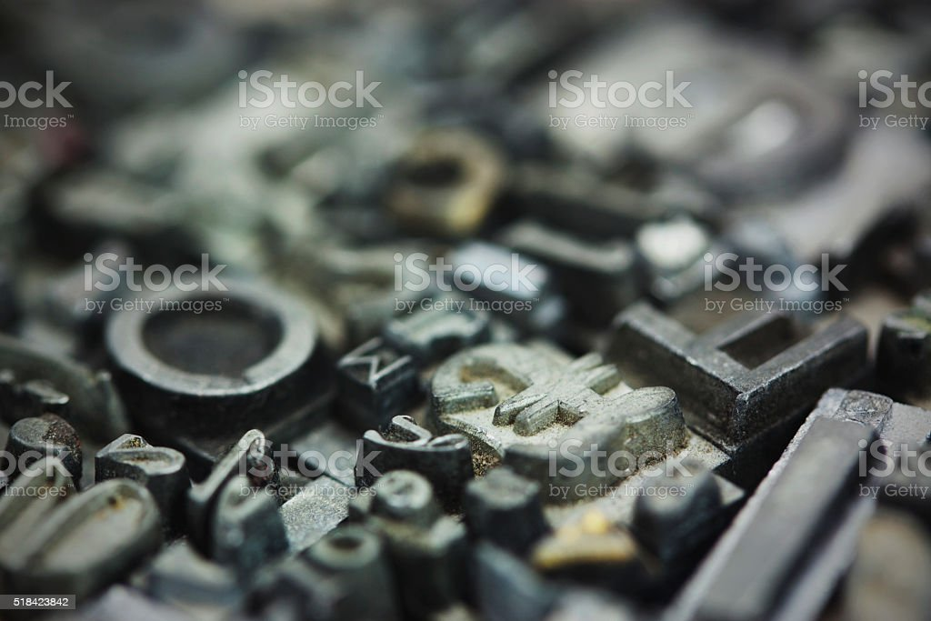Close up of typeset letters stock photo