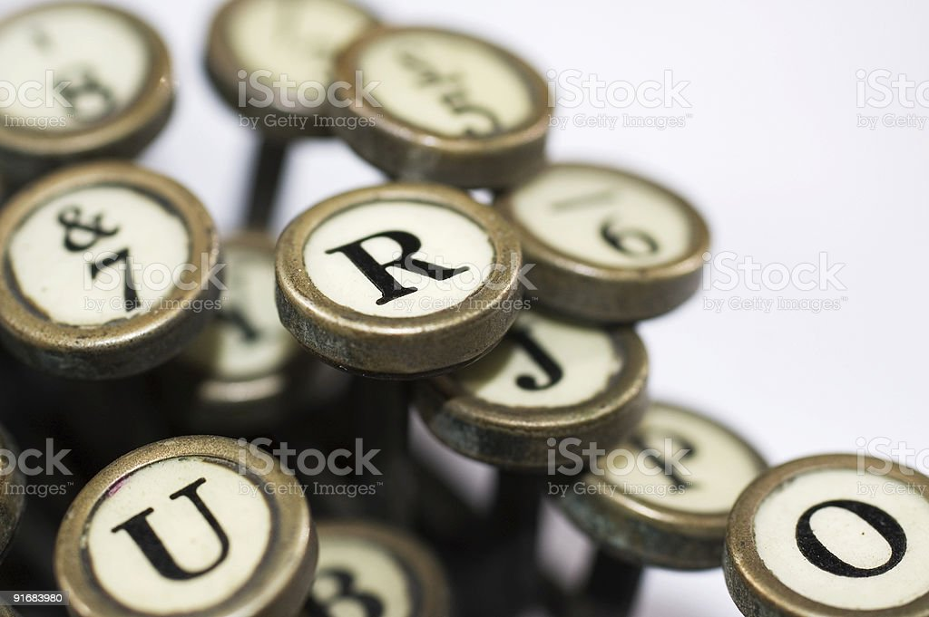 close up of typewriter keys stock photo