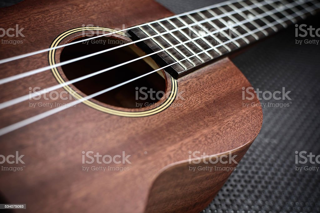 Close up of ukulele stock photo