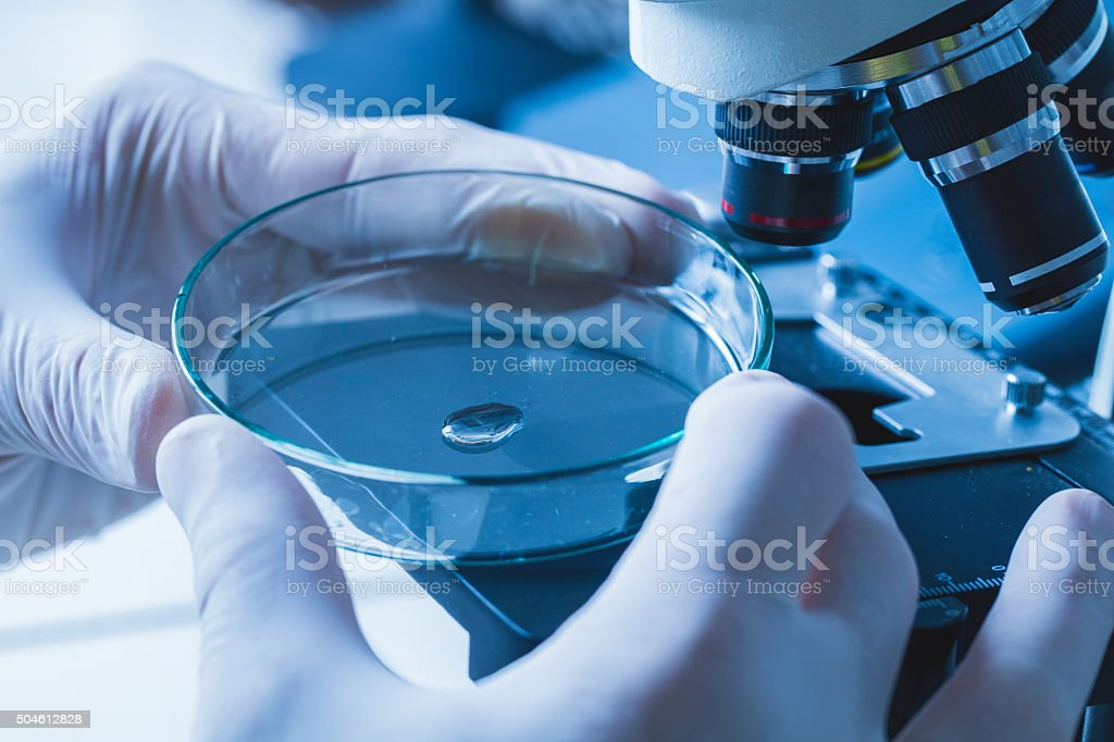 Close up of unrecognizable person working on medical sample. stock photo
