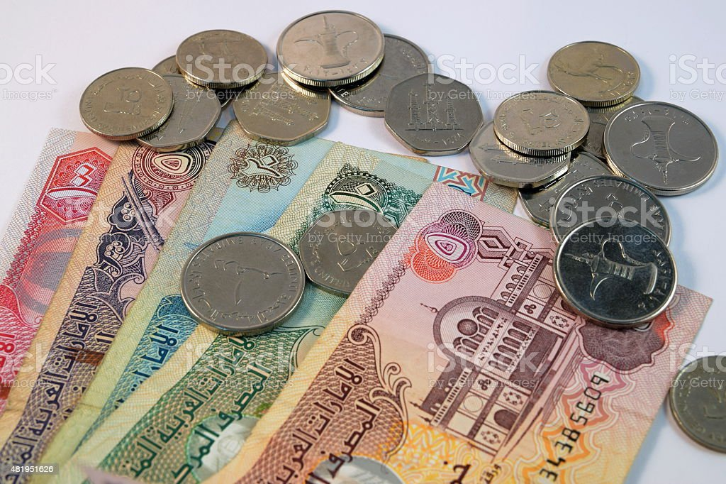 Close up of  Various currency notes and coins from UAE stock photo