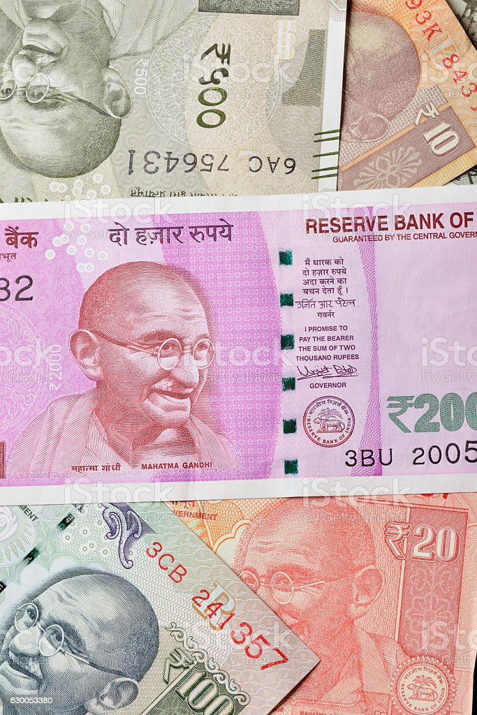 Close up of Various Indian Currencies Shot in Studio stock photo