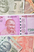 Close up of Various Indian Currencies Shot in Studio