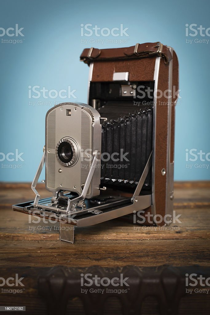 Close Up of Vintage Black and Brown Bellow Camera royalty-free stock photo