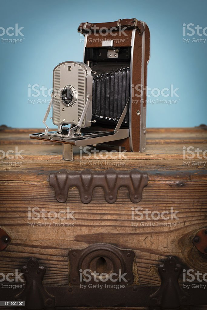 Close Up of Vintage Black/Brown Bellow Camera royalty-free stock photo