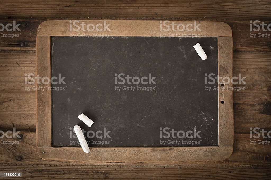 Close Up of Vintage Chalkboard Slate With Chalk royalty-free stock photo