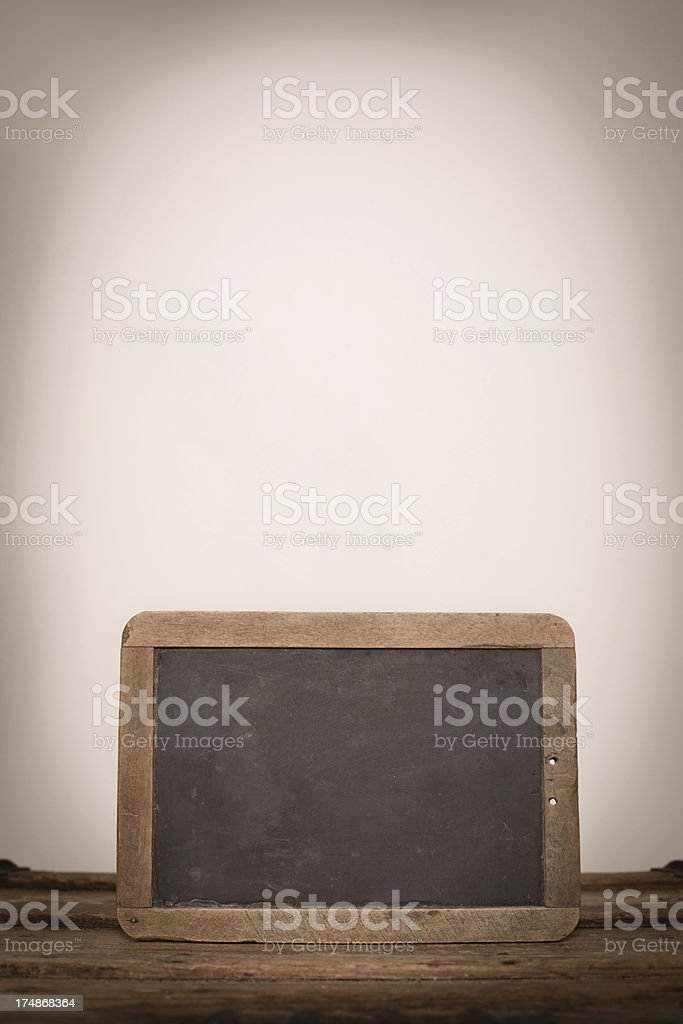 Close Up of Vintage Chalkboard Slate, With Copy Space royalty-free stock photo