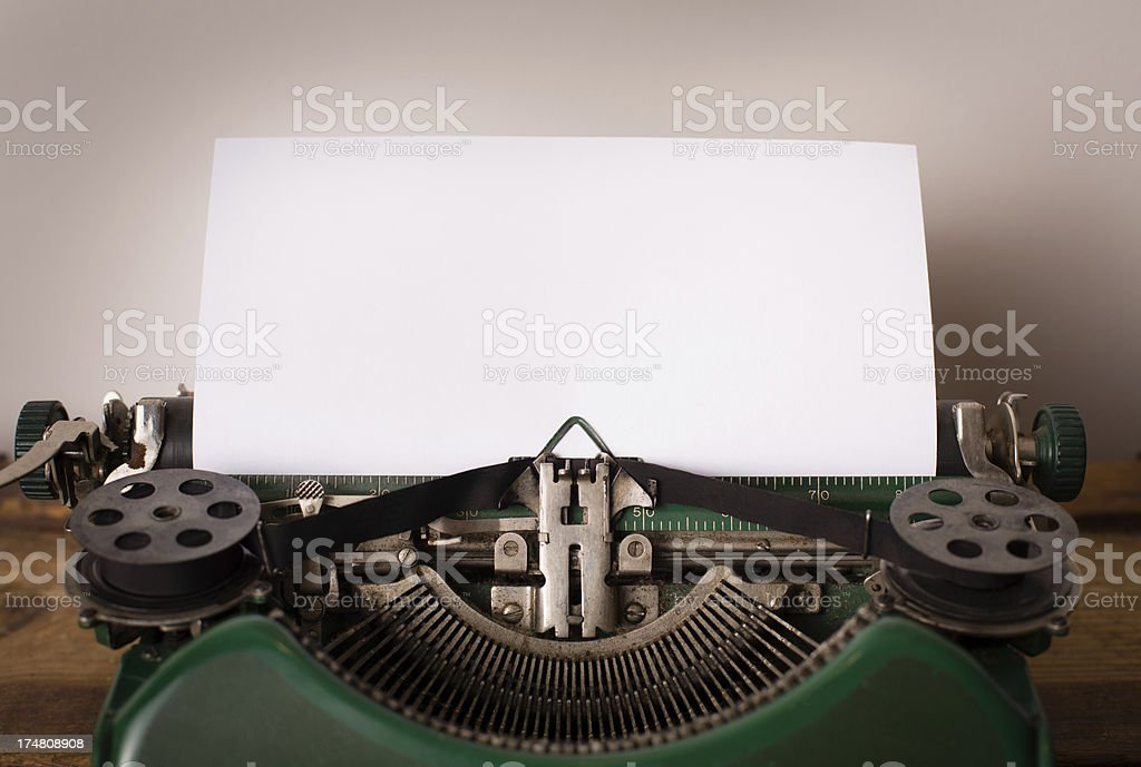 Close Up of Vintage Green, Manual Typewriter royalty-free stock photo