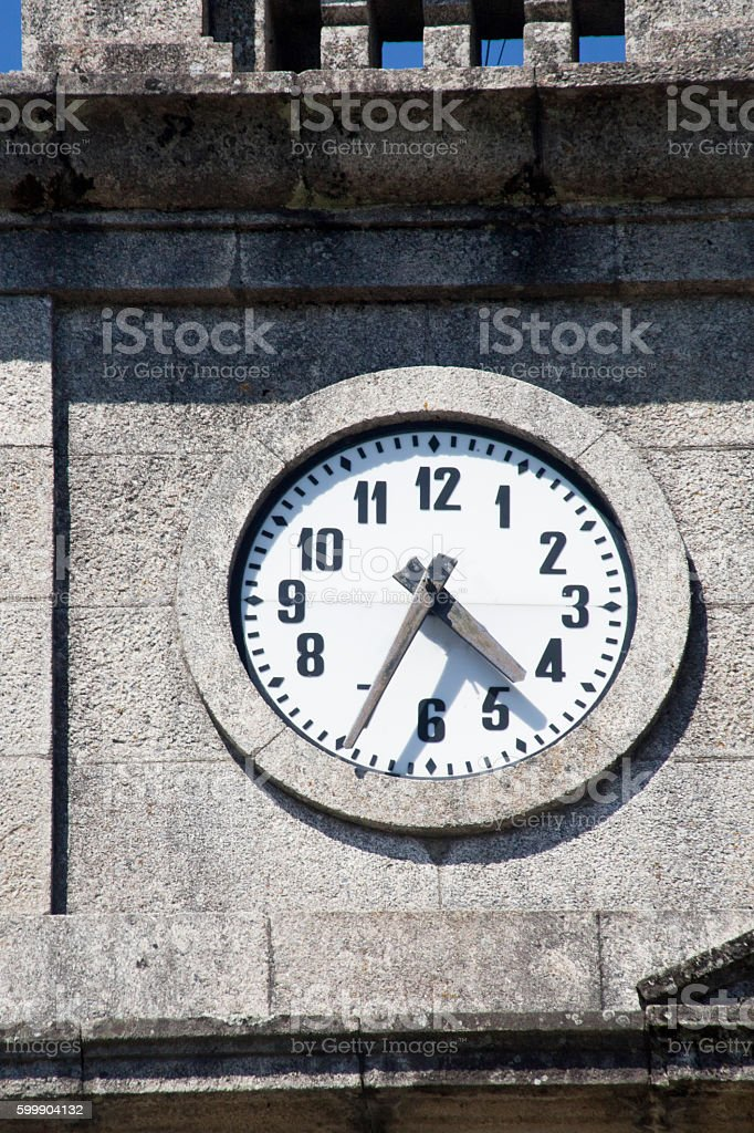 Close up of vintage large outdoors clock stock photo