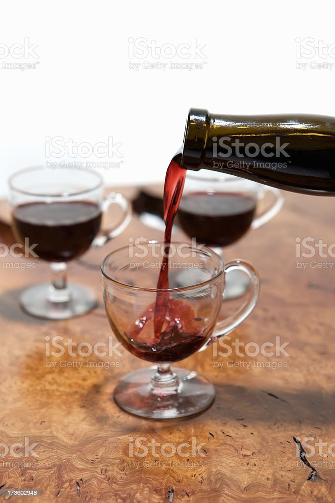 Close up of Vintage Port being poured into a glass stock photo