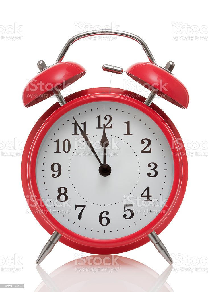 Close up of vintage red alarm clock stock photo