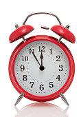 Close up of vintage red alarm clock