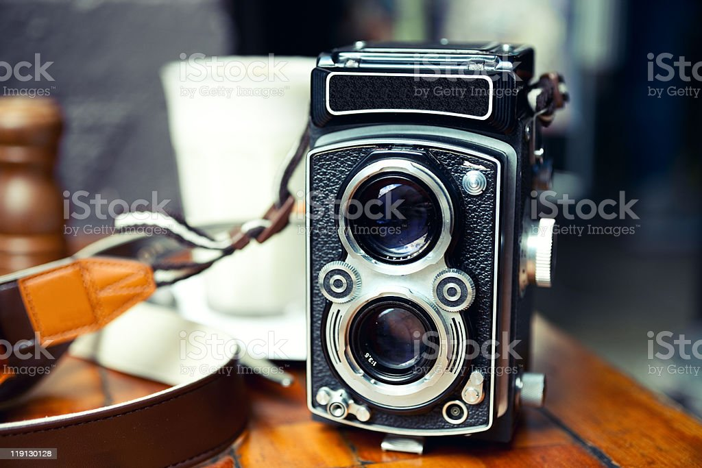 Close up of vintage TLR camera stock photo