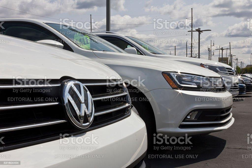 Indianapolis - May 2016: Close up of Volkswagen Logo I stock photo