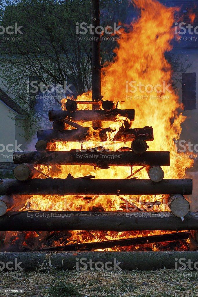 close up of walpurgis night fire royalty-free stock photo