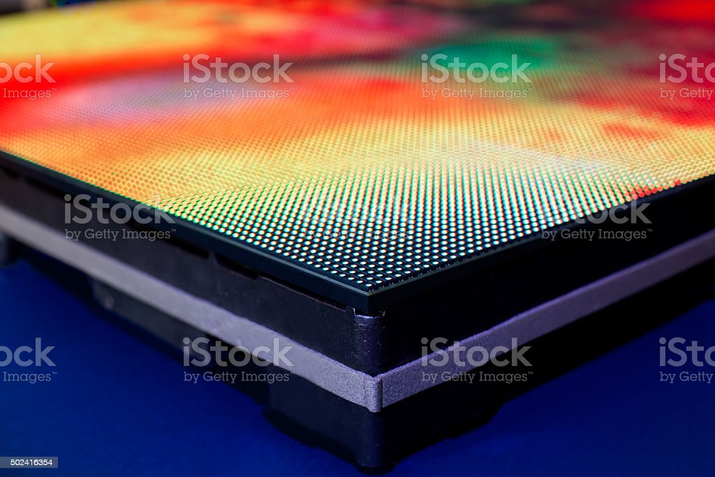 Close up of warm colored LED SMD screen side stock photo