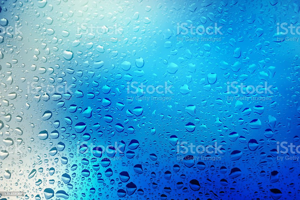 Close up of water droplets on a window royalty-free stock photo