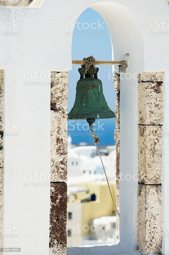 close up of weathered church bell on greek island Santorini royalty-free stock photo