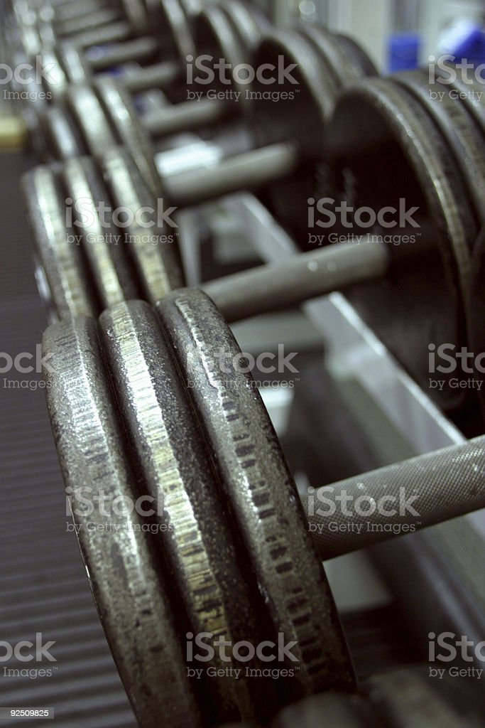Close up of weights in the gym stock photo