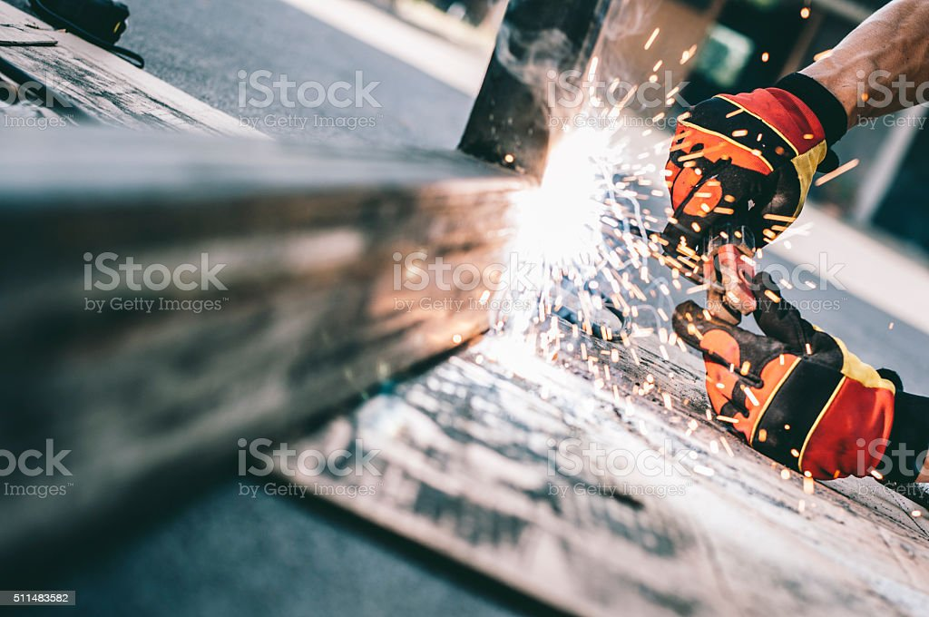 Close up of welder in action. stock photo