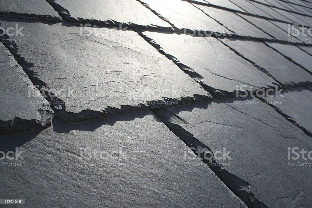 Close up of Welsh slate roof in the sun shine stock photo