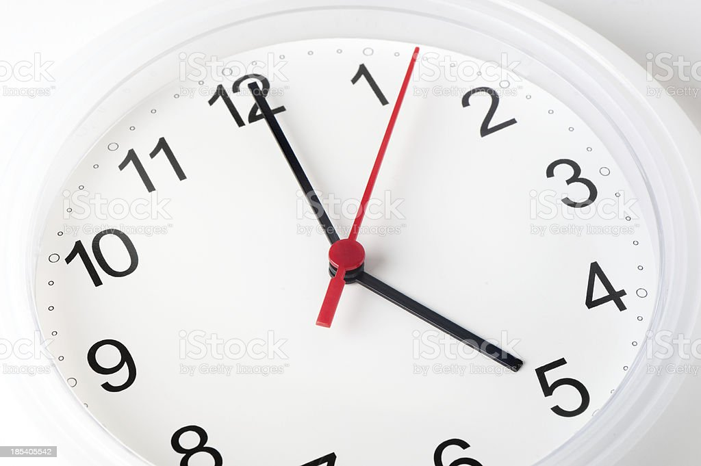 Close Up of White Clock stock photo