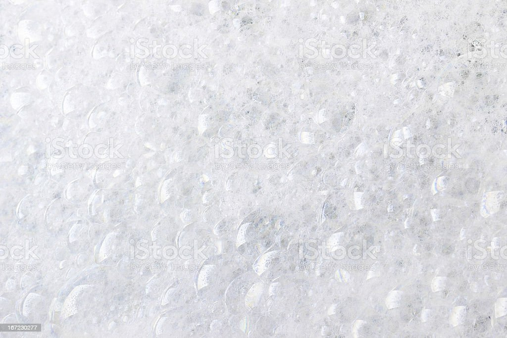 A close up of white foam bubbles stock photo