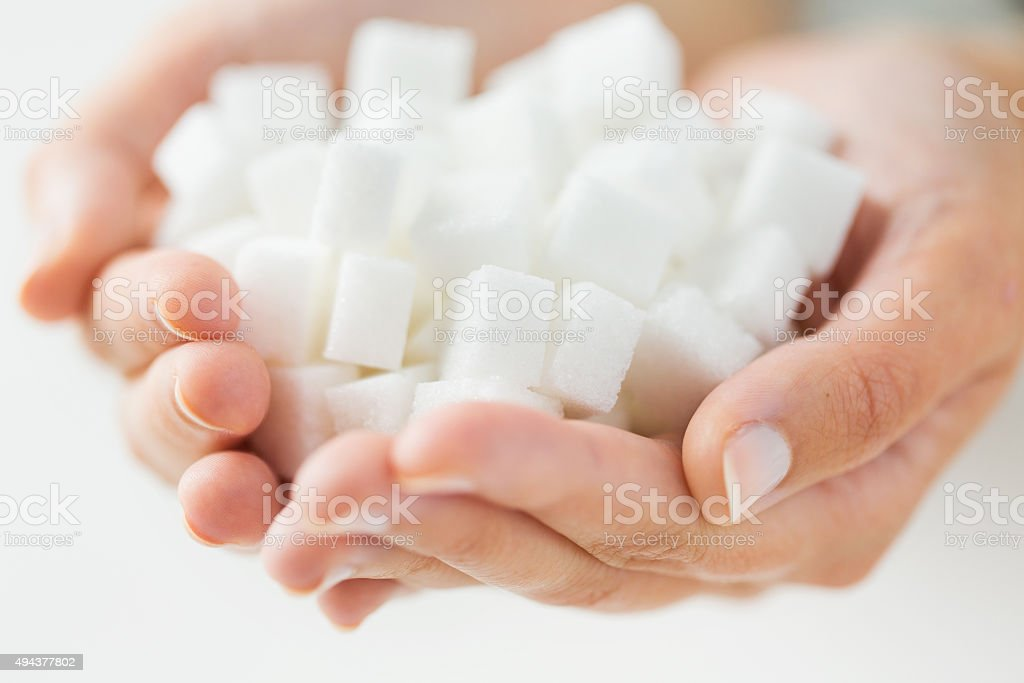 close up of white lump sugar in woman hands stock photo