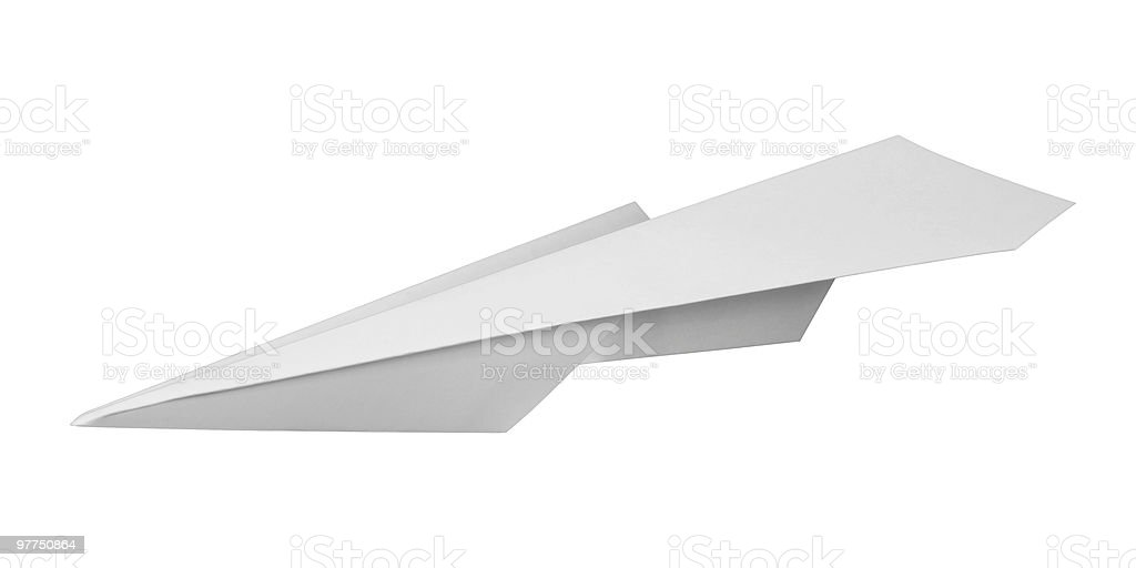 Close up of white paper plane on white background  stock photo