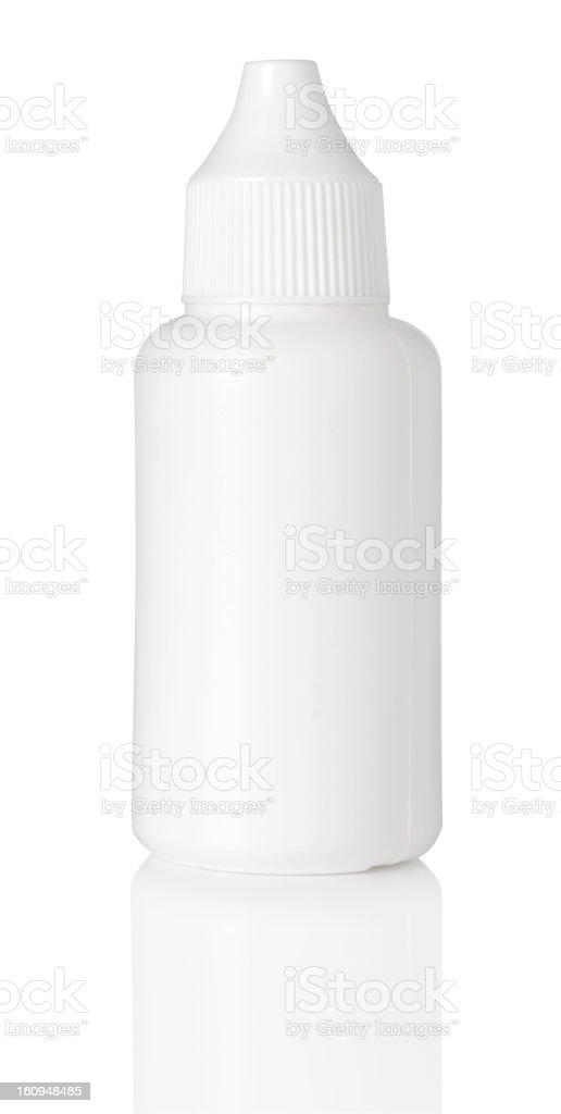 close up of white plastic bottle stock photo