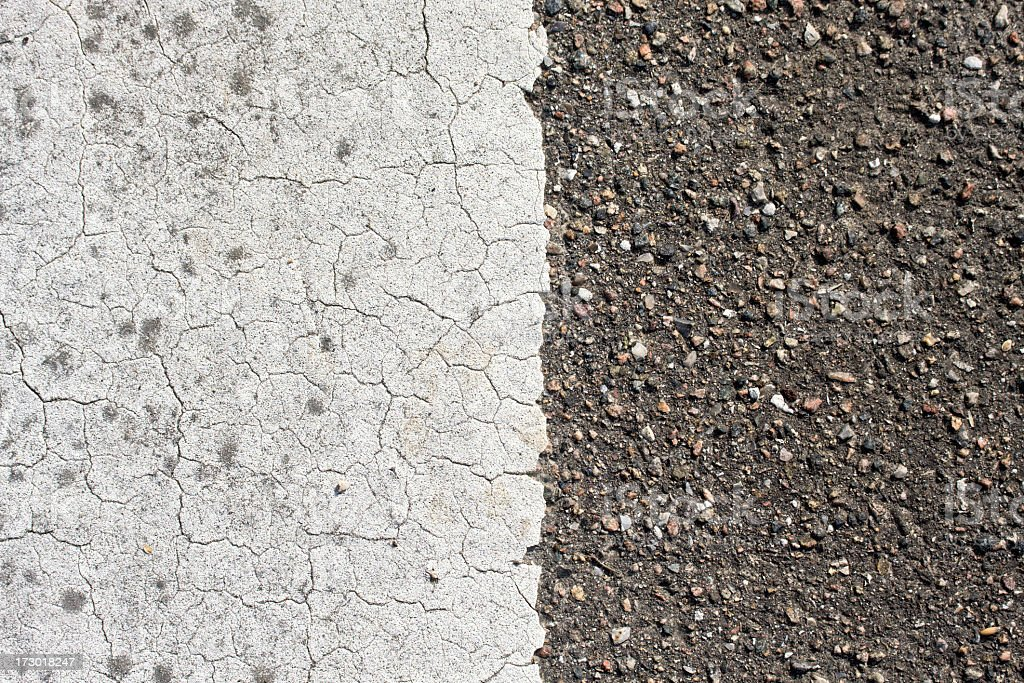 Close up of white road line and asphalt. royalty-free stock photo