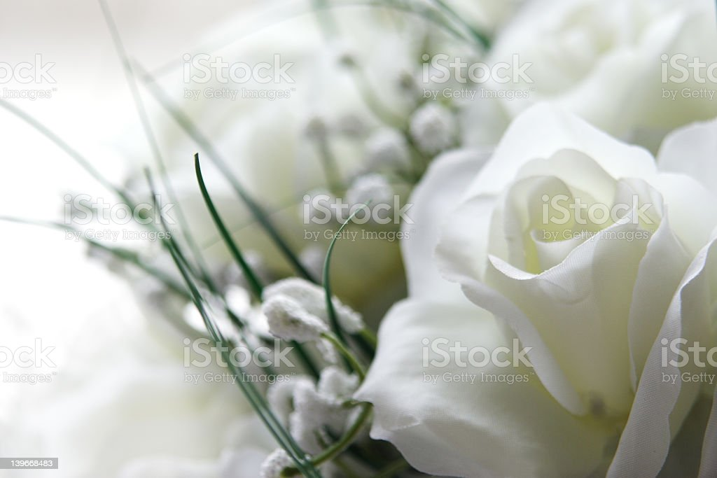 Close up of white rose in wedding bouquet royalty-free stock photo
