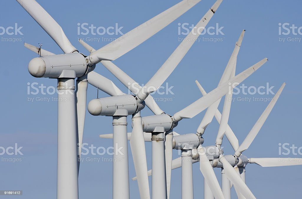 Close up of windmills in windfarm royalty-free stock photo