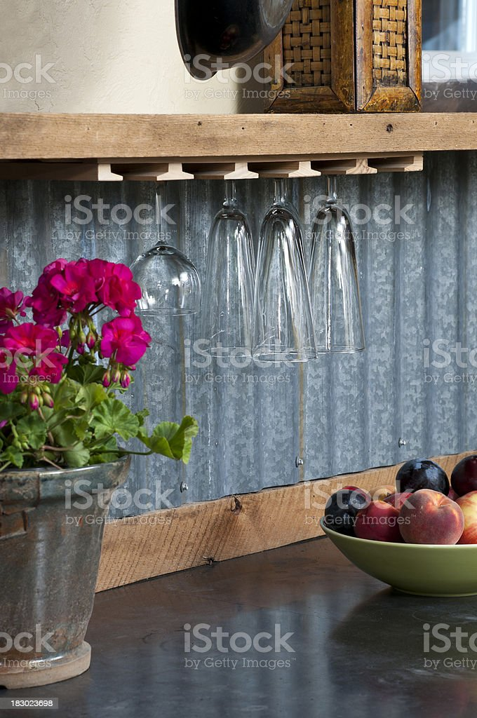 Close up of wine glasses hanging upside down royalty-free stock photo