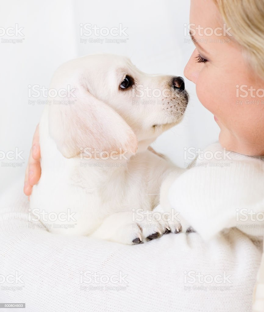 Close up of woman embracing puppy stock photo