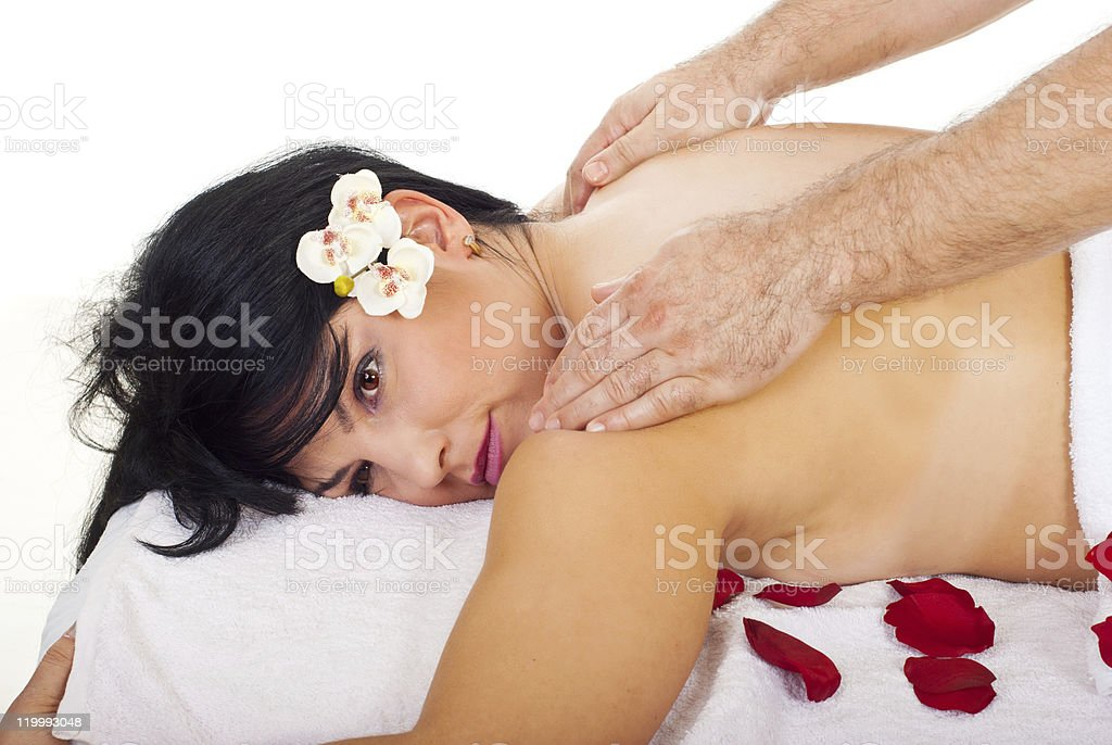 Close up of woman getting back massage royalty-free stock photo