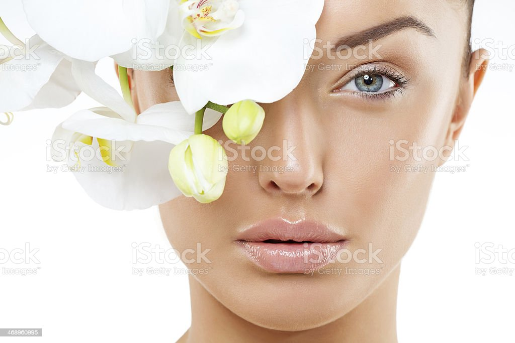 close up of woman with natural make-up stock photo
