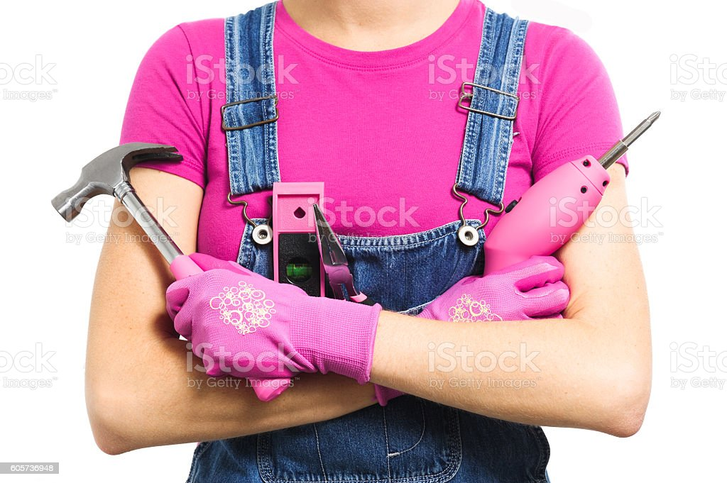 Close up of woman with pink tools on white stock photo