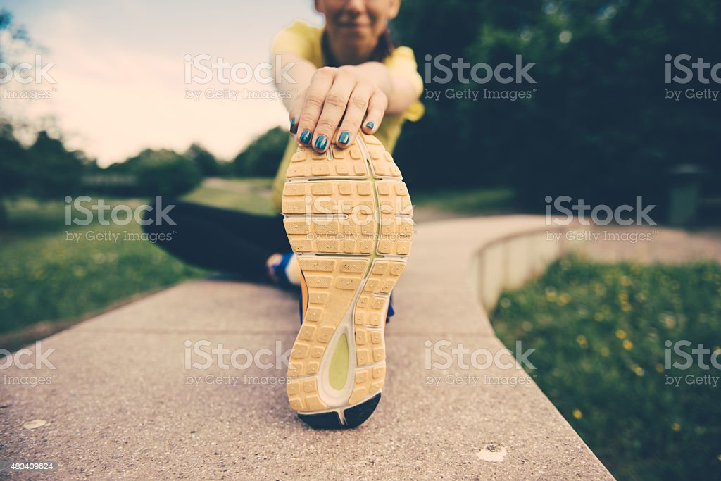 Close up of woman's running shoes stock photo
