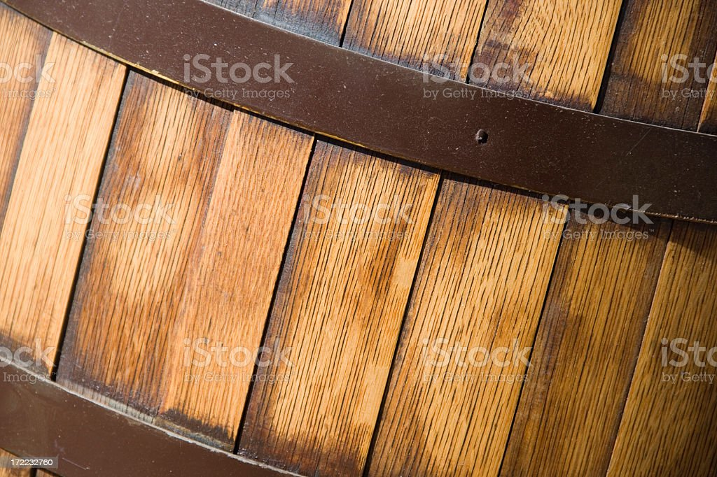 Close up of wood barrel banded with iron stock photo
