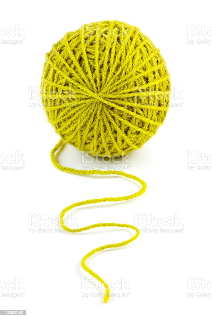 close up of wool knitting on white background royalty-free stock photo