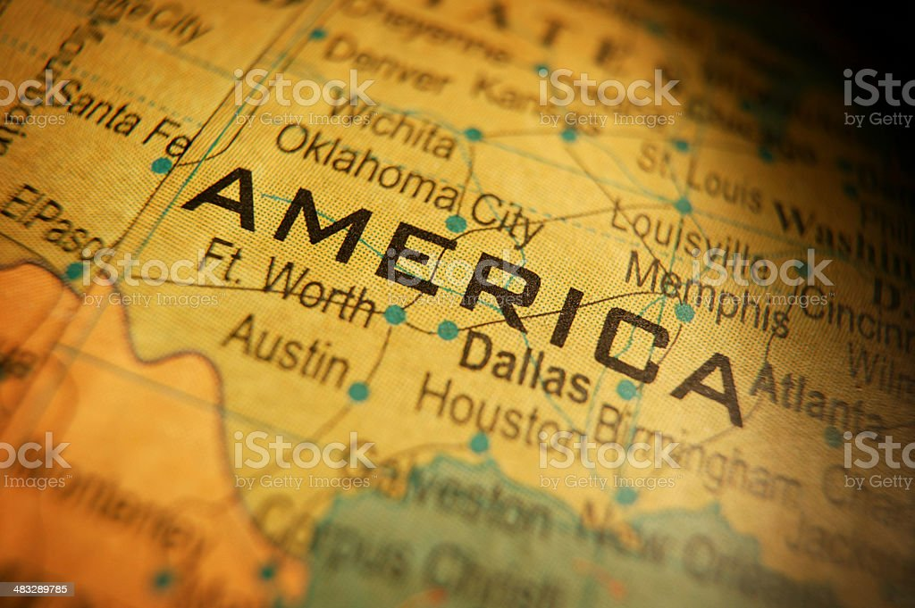 Close up of word America on map of United States royalty-free stock photo