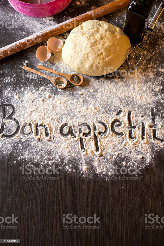 Close up of words written in flour stock photo